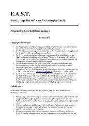 EAST Endrizzi Applied Software Technologies GmbH Allgemeine