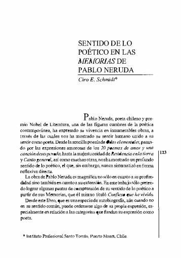 SENTIDO DE LO POÉTICO EN LAS MEMORIAS DE ... - Biblioteca