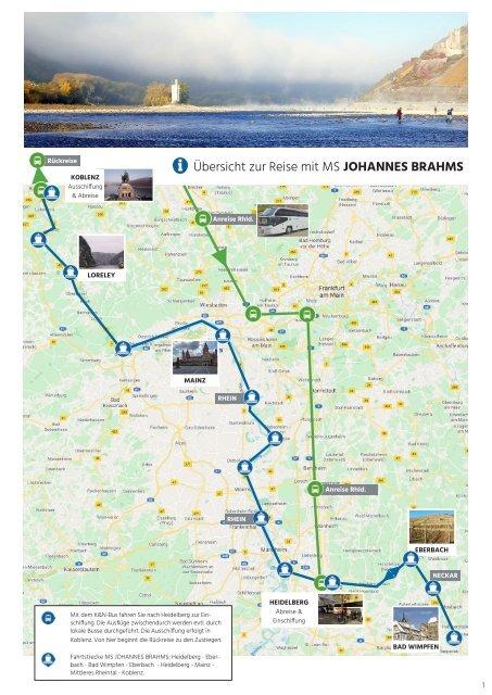 Karte zu unserer Silvesterkreuzfahrt 2021 mit MS JOHANNES BRAHMS