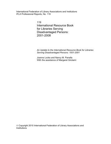 International Resource Book for Libraries Serving ... - IFLA
