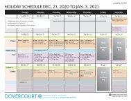 Dovercourt Holiday 2020-2021 centre schedule