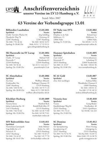 Anschriftenverzeichnis