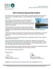 2012 Conference Sponsorship Invitation - SRI Conference