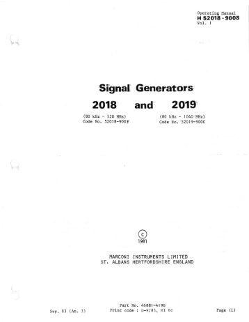 Marconi 2018 User Manual