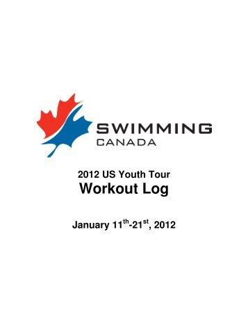2012 US Youth Tour - Training Log - Swimming Canada