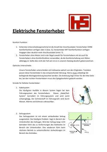 Infoblatt Fensterheber