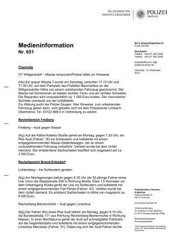 Medieninformation Nr. 651 - Polizei Sachsen