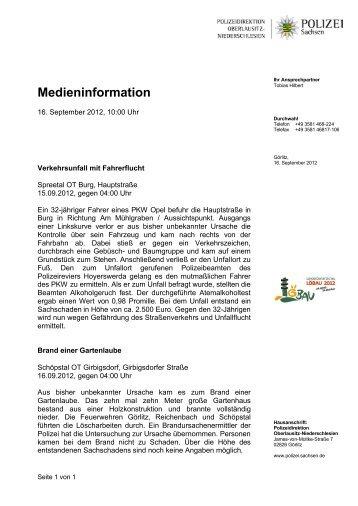 Medieninformation - Polizei Sachsen