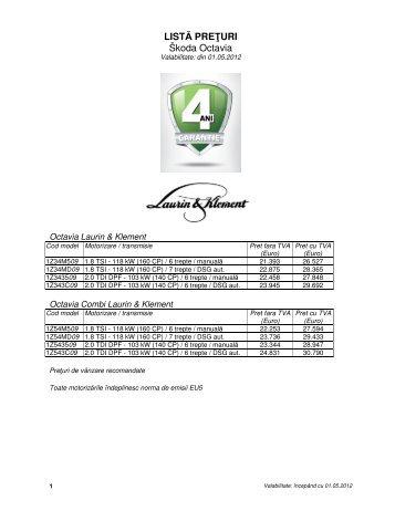 listă preţuri - Skoda