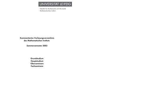 Kommentiertes Vorlesungsverzeichnis des Mathematischen Instituts ...