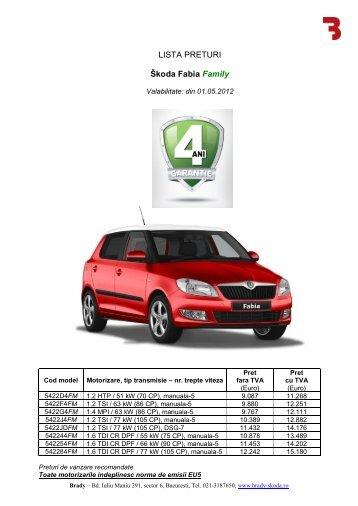 LISTA PRETURI Škoda Fabia Family - Brady Trade