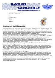Mitgliederinfo April/Mai/Juni/Juli - Tauchen in Hameln