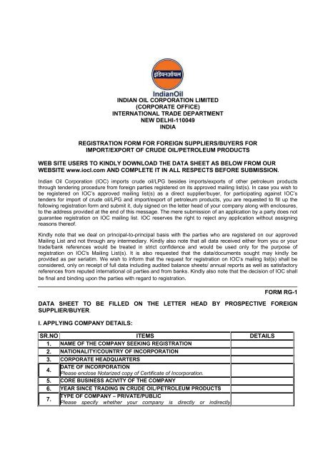 For Crude and Petroleum Products - Indian Oil Corporation