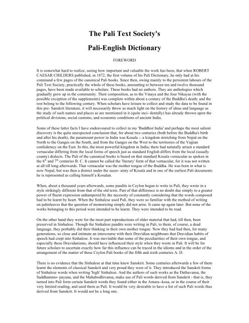 The Pali Text Society's Pali-English Dictionary