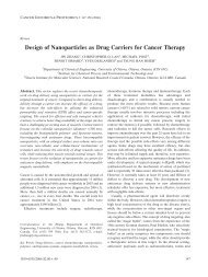 Design of Nanoparticles as Drug Carriers for Cancer Therapy