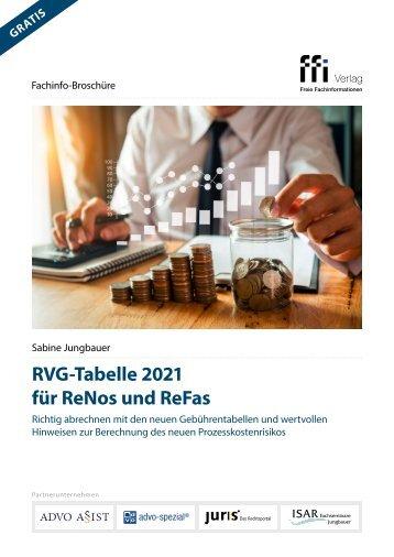 RVG-Tabelle 2021 für ReNos und ReFas