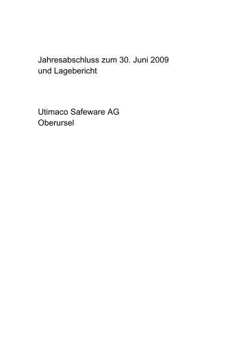 Jahresabschluss zum 30. Juni 2009 und Lagebericht Utimaco ...