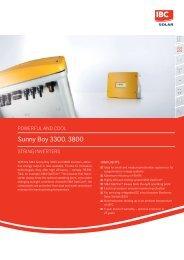Sunny Boy 3300, 3800 - IBC SOLAR