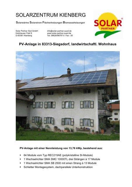 PV-Anlage in 83313-Siegsdorf, Maschinenhalle - Solarwärme ...