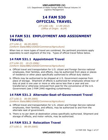 14 FAM 530 Official Travel - US Department of State