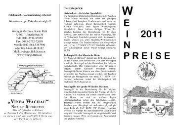 """vinea wachau"" nobilis districtus - Weingut Martin Fink"