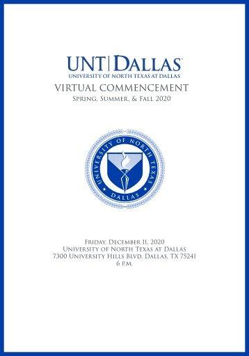 UNT Dallas Commencement 2020 Program