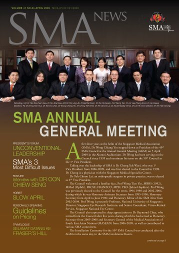 50th SmA Council - SMA News - Singapore Medical Association