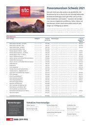 Panoramareisen Schweiz 2021 - Preisliste