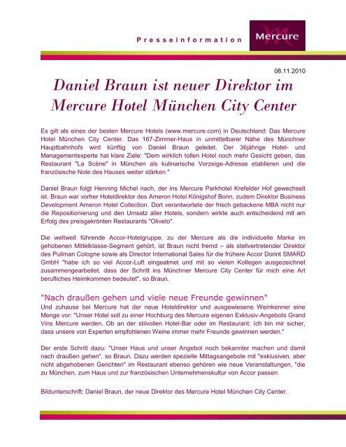 Daniel Braun Ist Neuer Direktor Im Mercure Hotel Munchen Accor
