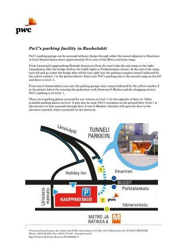 PwC's parking facility in Ruoholahti