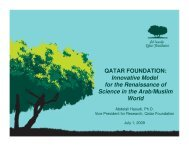 QATAR FOUNDATION: Innovative Model for the Renaissance of ...