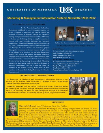 Marketing & Management Information Systems Newsletter 2011-2012