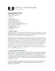 EMiC Spring 2012 Bulletin - Editing Modernism in Canada