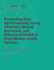 Preventing Risk and Promoting Young Children's Mental, Emotional, and Behavioral Health in State Mental Health Systems