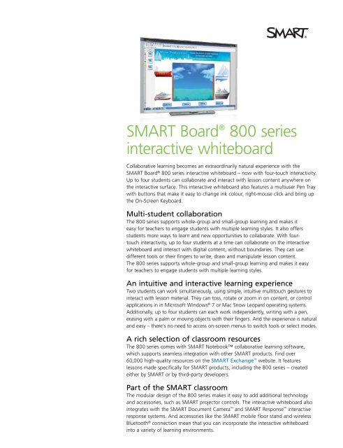 SMART Board® 800 series interactive whiteboard
