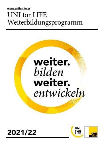UNI for LIFE Weiterbildungsbroschüre 2021/22