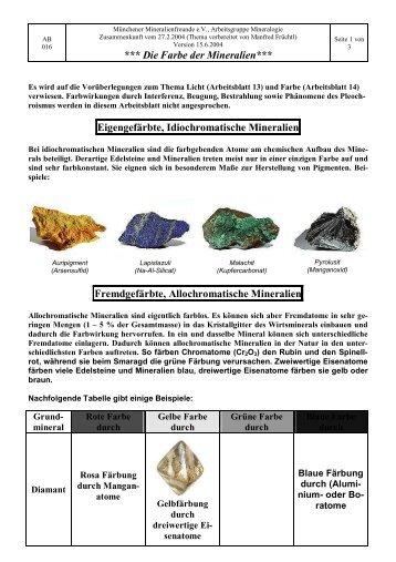 Farbe der Mineralien - Münchener Mineralienfreunde eV