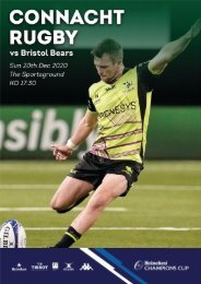 Connacht V Bristol Bears 20-12-2020 Match Programme