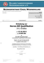 bezirkssportwart einzel weserbergland - Billardlandesverband ...