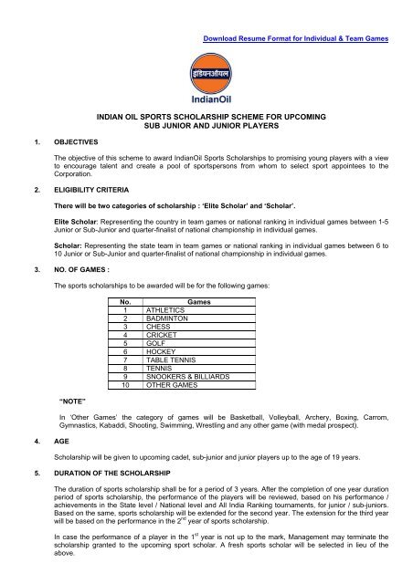 To Download Resume Format Indian Oil Corporation Limited