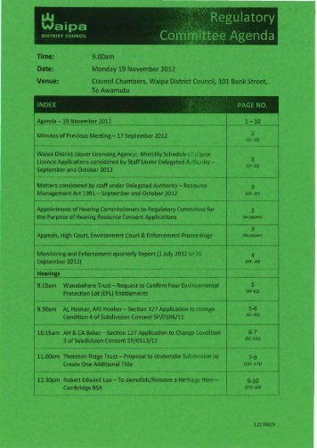 Regulatory Committee Agenda - Waipa District Council