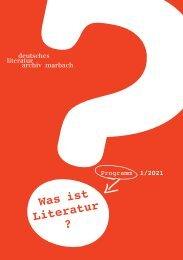 Programmheft des Deutschen Literaturarchivs Marbach, 1/2021