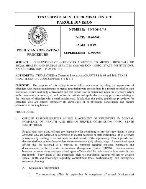 PAROLE DIVISION - Texas Department of Criminal Justice