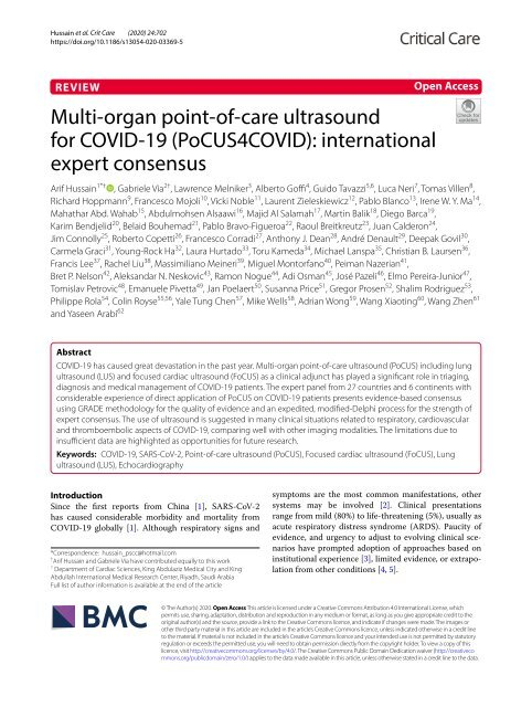 Hussein A et al. Crit Care 2020 Multi‑organ point‑of‑care ultrasound for COVID‑19 (PoCUS4COVID): international expert consensus