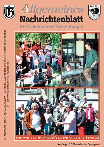 Nachrichtenblatt Juli 2007 - Werbegemeinschaft Geismar ...