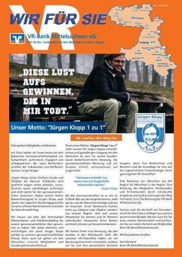 """VR-Bank Mittelsachsen eG Unser Motto: """"Jürgen Klopp 1 zu 1"""""""