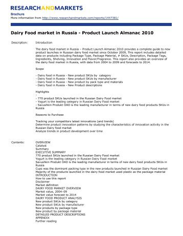 Dairy Food market in Russia - Research and Markets