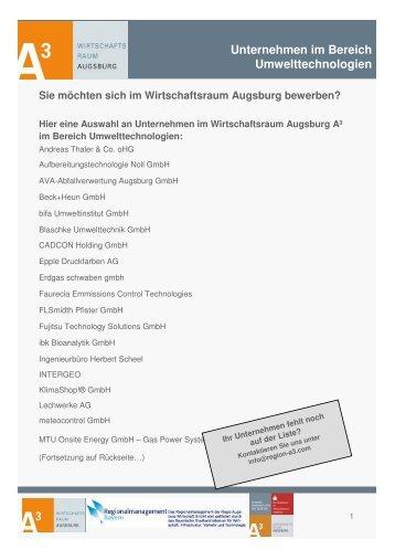 Umwelt - im Wirtschaftsraum Augsburg.