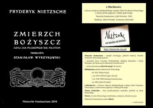 Fryderyk Nietzsche Zmierzch Bożyszcz Nietzsche Seminarium
