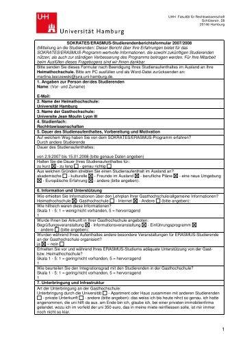 SOKRATES/ERASMUS-Studierendenberichtsformular 2007/2008 ...